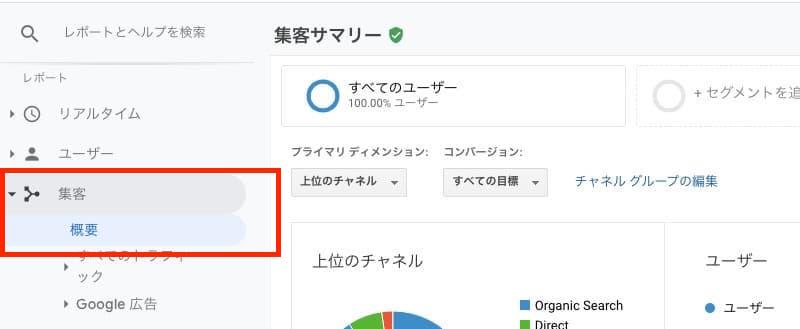 Googleアナリティクス集客概要ページ