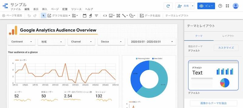 Googleデータポータルレポート編集画面