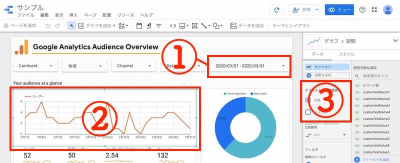 Googleデータポータルレポート期間選定